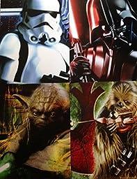 Star Wars Set of 4 Portfolio 2 Pocket School Folders ~ (Vader, Chewbacca, Yoda, Stormtrooper)