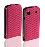 Yayago Premium Flip Style Mobile Phone Case Ultra-Flat Leather Pink Diamond Design for Samsung Galaxy S i9000 / Samsung Galaxy S Plus i9001