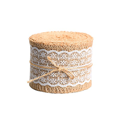 For Sale! Outus Natural Burlap Craft Ribbon Roll with White Lace, 156 Inches