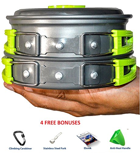 CAMPING COOKWARE MESS KIT WITH FREE GIFTS | Most Complete Outdoors Equipment Gear & Hiking Pack | Backpacking Compact Pans Set Bug Out Bag Supplies | Lightweight Pot Pan Bowls for Fishing Camp Cooking (Rv Oven Propane compare prices)