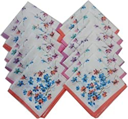 Ladies Handkerchiefs -12 Pcs - 29 CM X 29 CM -100% Cotton Material