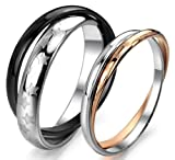 OPK Bicyclic Star Black & Rose Gold Plated 316 l Stainless Steel Titanium Wedding Band Anniversary/Engagement/Promise/Couple Ring Best Gift!- Female Ring Size L 1/2,Width 2mm,Diameter 16.4mm,Circumference 52mm,Rose Gold