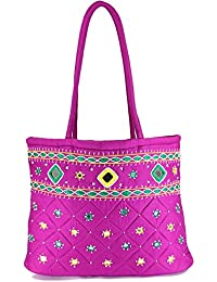 Women Cottage Magenta Cotton Border Patch Work Small Bag
