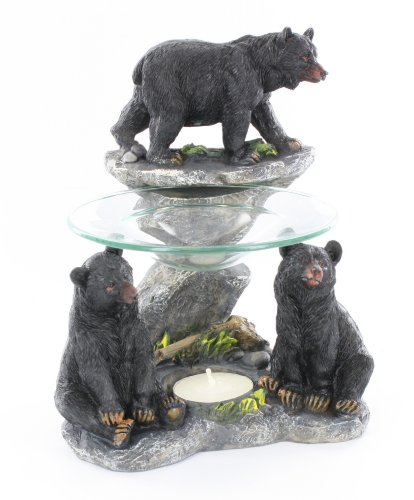 Three Black Bear Oil Scent Warmer Burner w/ Candle & Glass - Scented Fragrance Holder