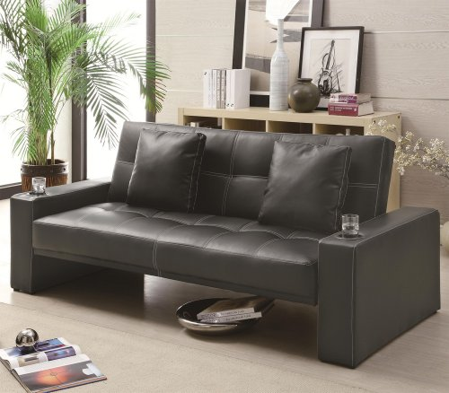 Coaster Sofa Sleeper With Cup Holders In Black front-905562