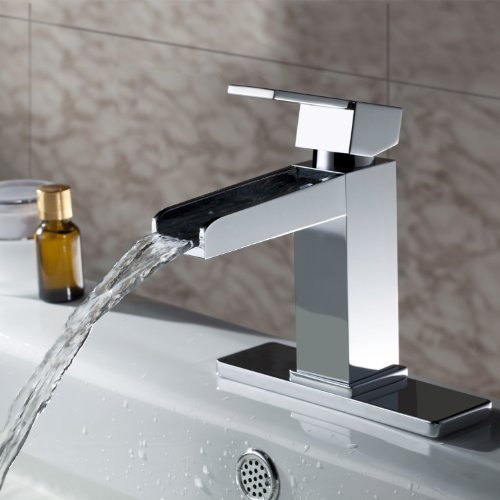 Ouku solid brass contemporary widespread waterfall for Modern bathroom faucets sale