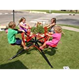 Twirl Go Round Kids 4 Seater - Merry Go Round Teeter Totter - Black & Red