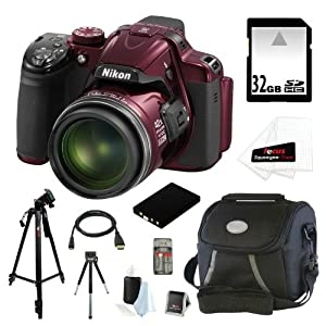 "Nikon COOLPIX P520 18.1 MP CMOS Digital Camera with 42x Zoom and ""GPS"" (Red) + EN-EL5 Battery + 9pc Bundle 32GB Deluxe Accessory Kit"