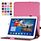 MoKo Slim-Fit Multi-angle Folio Cover Case for Samsung Galaxy Tab 3 10.1 inch GT-P5200 / GT-P5210 Android Tablet, Carbon Fiber PINK (WILL NOT Fit GALAXY Tab 4 10.1)