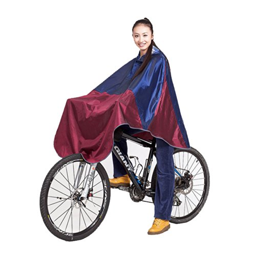 JF-Sunshine Womens Mens Cycling Bicycle Bike Raincoat Rain Cap Poncho with Hood (Blue/Red)