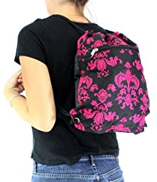 Enimay Women\'s Yoga Athletic Sports Sling Bag Back Pack BK/PK Damask
