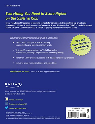 SSAT AMP ISEE 2016 PRIVATE INDEPEND S (Kaplan Test Prep)