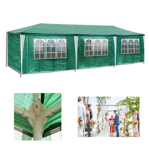 VINGOFestzelt-3x9m-Polythylen-grn-Partyzelt-Stahlkonstruktion-mit-8-Seitenteilen-und-2-Eingngen