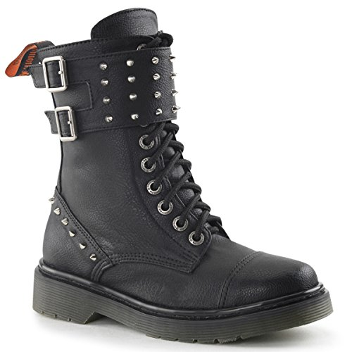Womens Black Combat Boots with Dual Studded Strap and 1.25 Inch Heels