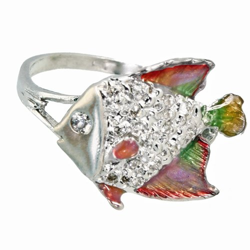 Angelfish Ring 1/5 Carat Diamonds Pink Enamel