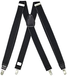 Dockers Men's Woven Stretch Suspenders, Gray/Black, One Size