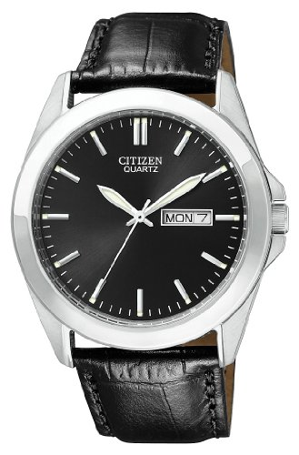Citizen Quartz Leather Strap Black Dial Men's Watch - BF0580-06E