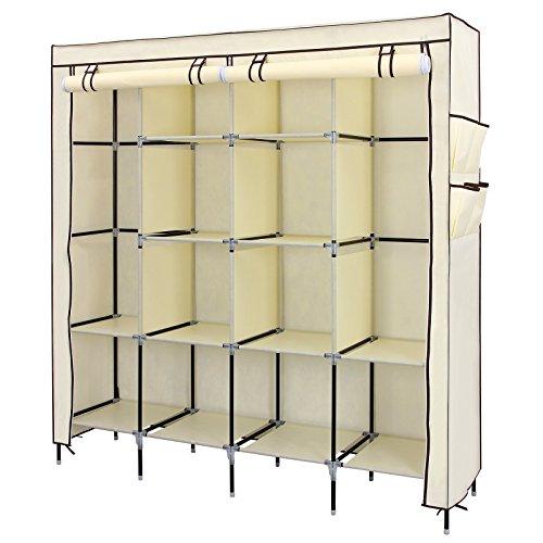 songmics-67-clothes-closet-portable-wardrobe-clothes-storage-rack-12-shelves-4-side-pockets-beige-ur