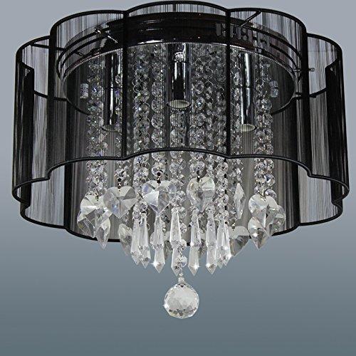 Ella Fashion ® moderne Lighting Rain Drop Kristall Hängeleuchte Pendelleuchte Lüster Deckenlampe Living Dining Studie für Kinderzimmer D16 X H13 Zoll Schwarz