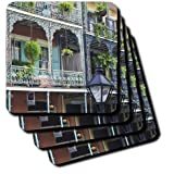 3dRose Cst_90472_3 Louisiana New Orleans French Quarter Rob Tilley Ceramic Tile Coasters, Set Of 4