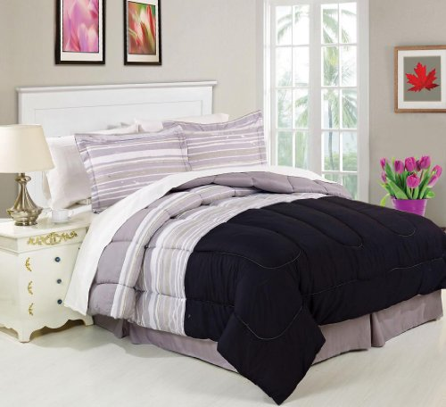 Luxury Home 8-Piece Stipple Stripe Bed-In-Bag Set, King front-914808