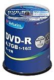 三菱化学メディア Verbatim DVD-R(Data) 1回記録用 4.7GB 1-16倍速 100枚スピンドルケース100P インクジェットプリンタ対応(ホワイト) ワイド印刷エリア対応 DHR47JP100V4 ランキングお取り寄せ