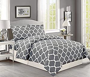 1500 Thread Count Egyptian Quality Geo Quatrefoil Trellis Lattice Duvet Cover Set, 3pc Luxury Soft, All Sizes & Colors, (Full/ Queen, Grey)