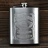 And Retails Jack Daniel'S Design Embossed 8 Oz (230 Ml) Stainless Steel Hip Flask - Alcoholic Beverage Holder