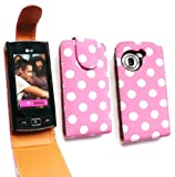 Emartbuy® LG GM360 Viewty Snap Premium PU Leather Flip Case/Cover/Pouch Polka Dots Hot Pink / White And LCD Screen Protector