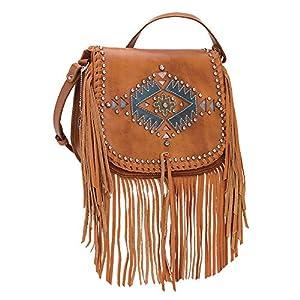 American West Pueblo Moon Collection Fringe Crossbody Flap Bag