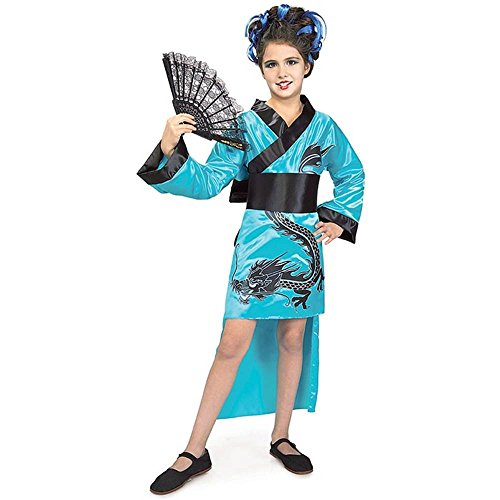 Child Teal Dragon Girl Geisha Costume