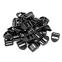 uxcell® Plastic Webbing Strap Ladder Slider Buckles Lock 20mm 30 Pcs Black