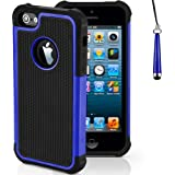 Mobile-Heaven Apple iPhone 5 5S Premium Dark Blue Shock Proof Case Cover Includes Screen Protector, Cleaning Cloth And Stylus Pen