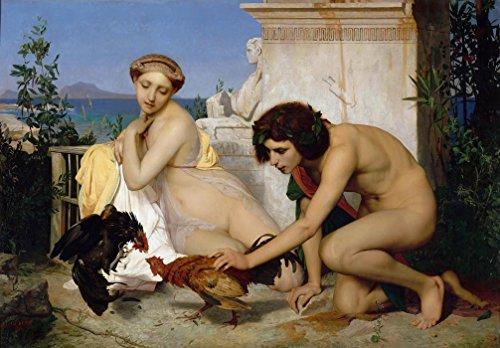 Il museo Outlet-JeanLeon Gerome Jeunes Grecs faisant battre des coqs, n. 1846, formato A3