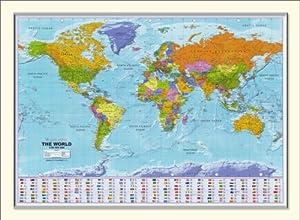 Large Framed World Map 54 Quot X 38 Quot Amazon Co Uk Kitchen