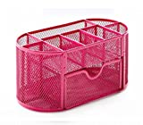 EasyPAG Mesh Desk Organizer Office Supplies 9 Parts Desk Storage Box with Drawer