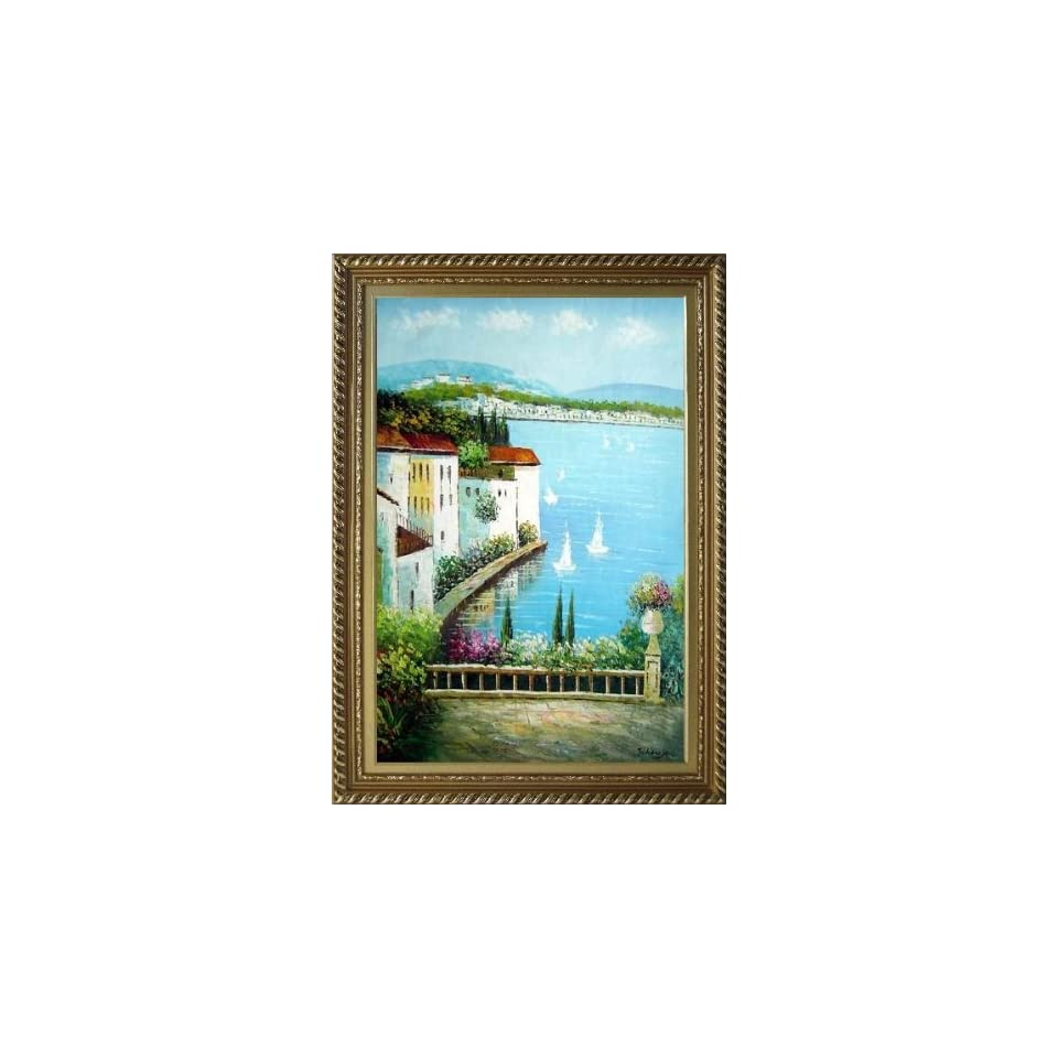 Framed Oil Painting 36x24 View of Mediterranean Resort Village and Bay with Yachts Naturalism Stylish Frame