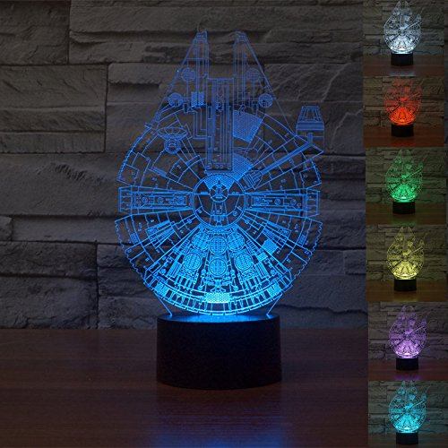 Huiyuan NEW 3d Lamp Millennium Falcon Table Night Star Wars Model 7 Color Change LED Desk Light with Multicolored USB Power for Living Bed Room Bar Best Gift