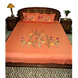 Amita's Home Furnishing Carrot Color Embroided & Patch Work Bed Linen - B00YR9AC8U