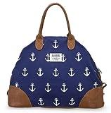 Sloane Ranger Anchor Print Canvas Weekender Bag - Navy Blue / White Vegan