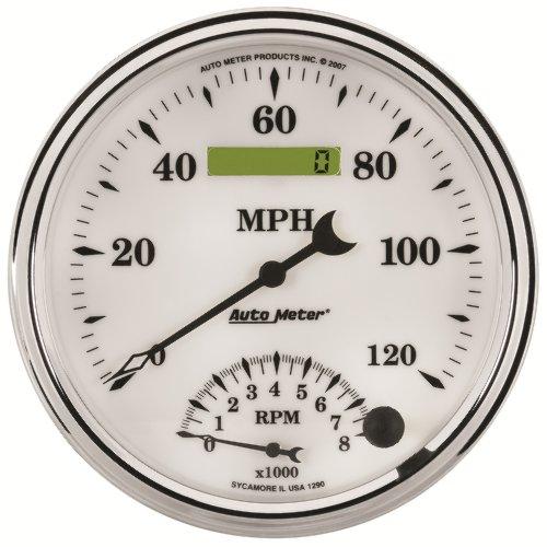 "Auto Meter 1290 Old Tyme White Ii 5"" 8000 Rpm / 120 Mph Tachometer/Speedometer Combo Gauge"