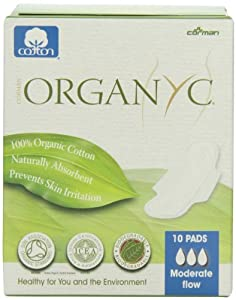 ORGANYC Hypoallergenic 100% Organic Cotton Pads Day Wings, 10-count Box