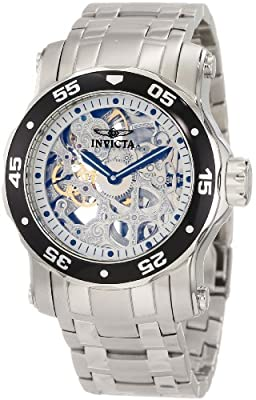 Invicta Men's 10303 Pro Diver Mechanical Silver Tone Skeleton Dial Watch