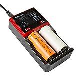BONUSIS H2 Universal 2 Bay AA AAA C, Ni-MH Ni-Cd and 10440 18650 26650 Etc. Li-ion LiFePO4 Rechargeable Battery Charger with LCD Display.