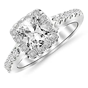 1.11 Carat Square Halo Cushion Cut Diamond Engagement Ring (D Color VS2 Clarity)