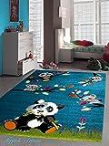 Kinderteppich Spielteppich Kinderzimmer Teppich niedliche bunte Tiere Panda Design Türkis