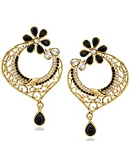 VK Jewels Black Charm Gold Plated Alloy Drop Earring Set For Women & Girls -ERZ1305G [VKERZ1305G]