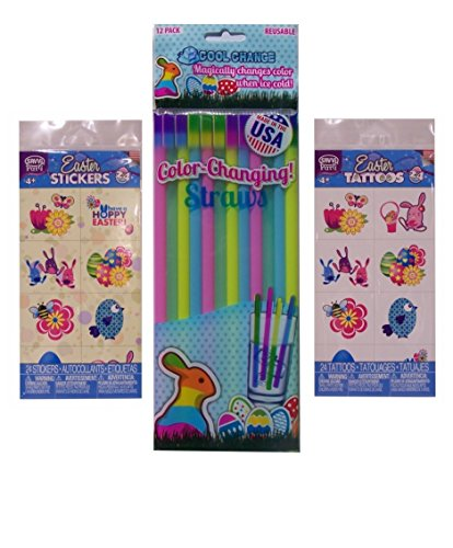 Easter Theme - Tattoos, Stickers, and Color Changing Straws