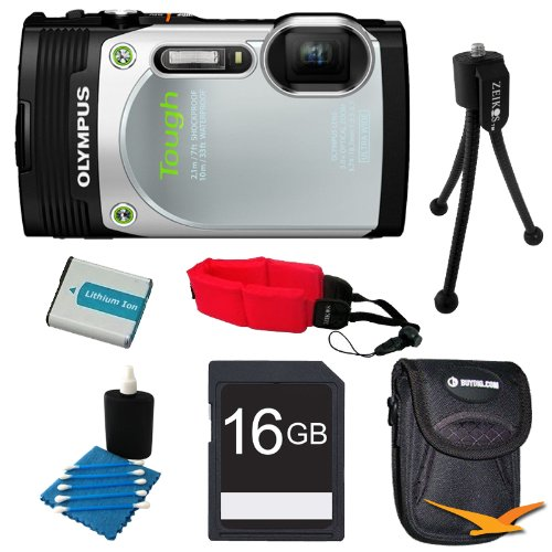 Olympus TG-850 16MP Waterproof Shockproof Freezeproof Digital Camera Silver Kit Special Offers