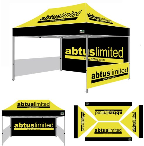 Eurmax Pre Pop Up Canopy With Custom Printed Graphics - Instant Canopy Tent Portable Booth With Backwall Interior Side Printed Only (10X15) front-1071560